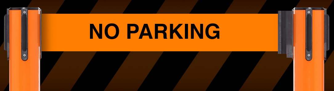 no parking sign between stanchions