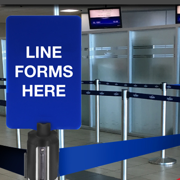 stanchion signs line forms here