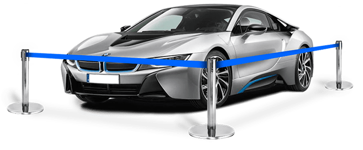 car showroom retractable belt barriers