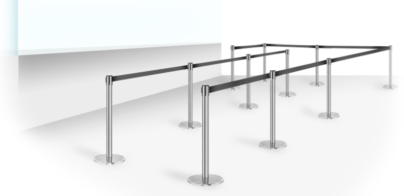 stanchion setup for crowds