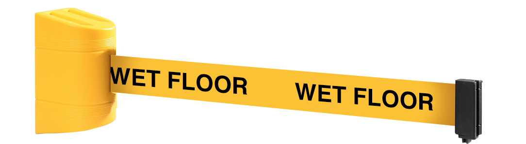 wet floor safety signs on wall mounted barrier